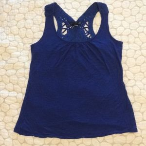 Willi Smith Large royal blue lace back tank top